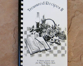 Treasured Recipes II Nauvoo Presbyterian Church Cookbook, vintage church cookbook, Nauvoo Presbyterian Church Illinois cook book