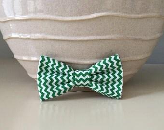 Dog Bow / Bow Tie - Light Green and White Tiny Chevron