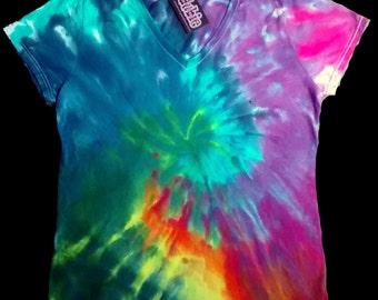 Spiral V Neck Tie Dye Shirt 9 oz