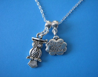 Graduation Gift Owl Charm Inspirational Graduation Necklace Gift for a Graduate