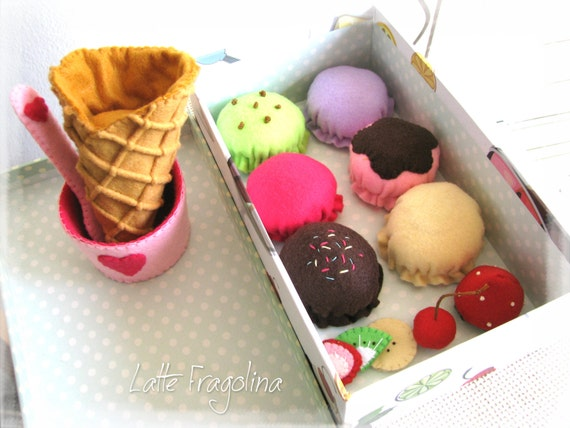 Small Toy Food : Ice cream set felt toys small food by lattefragolina