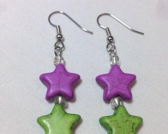 Purple and Green Star Bead Earrings