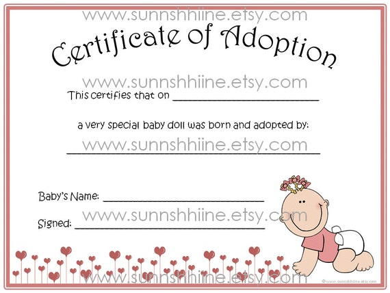 Certificate Of Adoption Girl Baby Doll Toy Adopt By