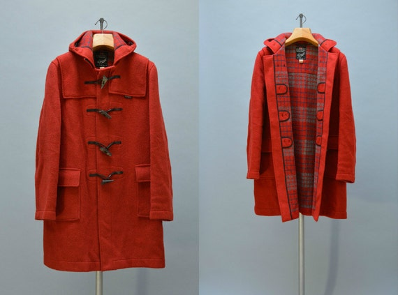 Red Wool Gloverall Coat Vintage 80s Ladies Duffle Coat with