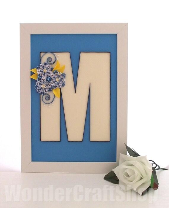 Framed Nursery Letter Nursery Letter M Baby Boy By