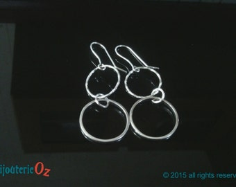Silver Hoop Earrings, Double hoop dangle earrings, sterling silver hoop earrings handmade by BijouterieOz