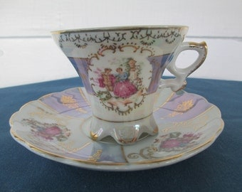 Vintage Royal Crown Blue Victorian Lusterware Tea Cup Gold Gilt Collectibles