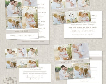 Premade Photography Marketing Mini Set Templates - Business Card - Pricing List - Promo Card - Gift Certificate - C271 - INSTANT DOWNLOAD