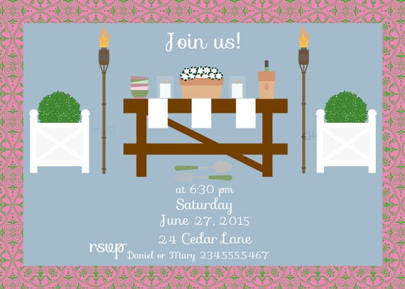 Backyard Party Summer Party Invitation by Freshcitrus on Etsy