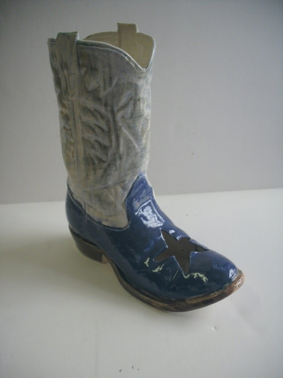 Cowboy boot planter or vase Blue and white with cut out star