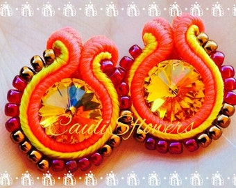 small earrings soutache yellow and raspberry-colored with yellow swarovski