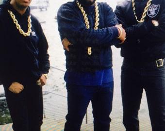 Vintage gold tone rope run DMC necklace