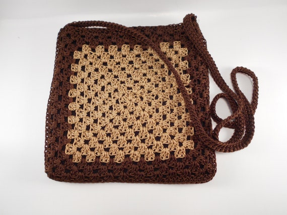 Crochet Crossbody Purse : Crossbody Bag, Crossbody Purse, Crochet Purse, Brown Shoulder Bag ...