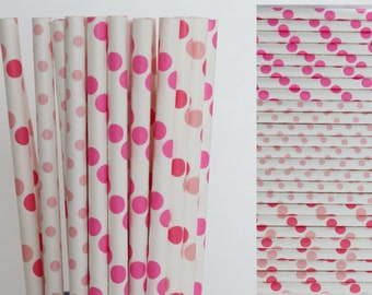 Pink Polka Dot Paper Straw Mix-Hot Pink Straws-Dark Pink Straws-Light Pink Straws-Polka Dot Straws-Party Straws-Wedding Straws-Paper Straws