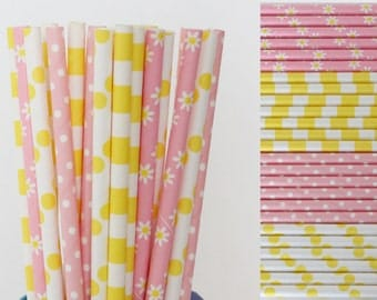 Pink and Yellow Paper Straw Mix-Pink Straws-Yellow Straws-Flower Straws-Polka Dot Straws-Striped Straws-Party Straws-Shower Straws