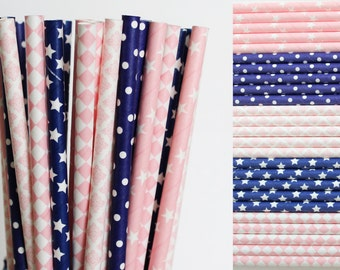 Pink and Navy Blue Paper Straw Mix-Navy Blue Straws-Pink Straws-Polka Dot Straws-Star Straws-Diamond Straws-Damask Straws-Wedding Straws