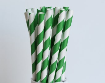 Green Striped Paper Straws-Green Straws-Striped Straws-Party Straws-Wedding Straws-Mason Jar Straws-Green Paper Straws-Cake Pop Sticks