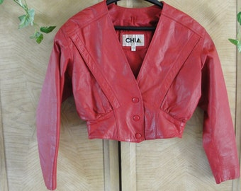 Vintage size small Chia cropped red leather jacket 90s 1990s 80s 1980s