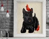 Scottie Dog Red Birds  scottish terrier, art print picture painting dog graphic illustration art picture poster drawing gift dog lover