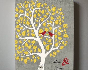 Couples Wedding Tree Canvas Wall Art - Personalized with Names and birds - Unique gift