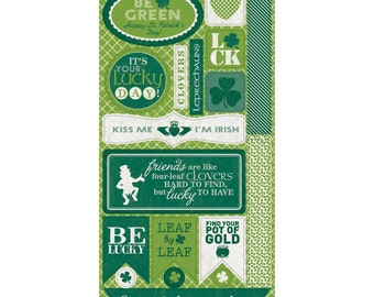 AUTHENTIQUE Lucky Collection Components, 6X12 Sheet of Die-Cut Embellishments, St. Patrick's Day Scrapbook and Paper Craft
