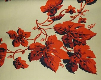 Table Cloth, Home Decor, Rectangular Linen, Red Grape Design, Cotton Rayon, Dining Table Cover, Picnic Tablecloth, Hand Printed Linen, Patio