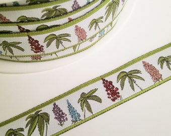 """1 m Woven Ribbon """"Lupins"""" 16 mm w. easter spring"""