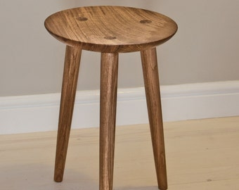 Stool, chair, Hand sculpted scandinavian feel solid oak milking stool, 3 legs chair