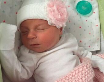 Hospital Newborn Beanie, Baby Girl Hat, Newborn Hospital Hat,  Newborn's First Flower! Shabby Chic <3  White daisy with Pink Rose