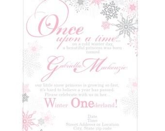 Winter Wonederland Snowflake Invitations PRINTED (rhinestones optional)