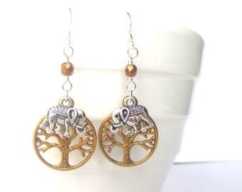Little elephant earrings - Boho tree and elephant earrings - Elephant jewellery - Tribal earrings - Stocking filler - UK seller