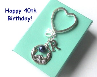 Personalised 40th birthday gift - Mermaid keychain - 40th gift - 40th keychain - Mermaid keyring with pearl - Sister gift - Friend - Mum