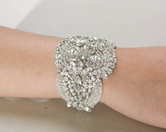 Bridal bracelet, wedding jewelry, bridal cuff, beaded bracelet - Style Laces
