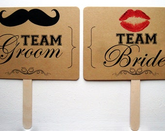 Team Bride Team Groom - Thank You (Mr and Mrs) - Photo Prop Sign - Lips - Moustache