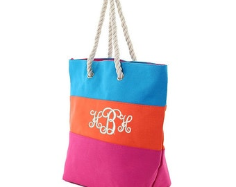 Monogrammed Drawstring Closure Beach Totes - Turquoise, Orange and Fuschia