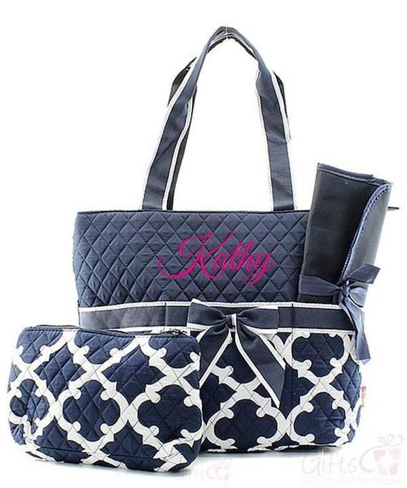 personalized diaper bag quilted monogrammed quatrefoil. Black Bedroom Furniture Sets. Home Design Ideas