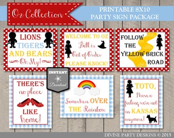 INSTANT DOWNLOAD Printable Wizard of Oz Inspired 8x10 Party Sign Package/ 6 Signs / Oz Collection / Item #101