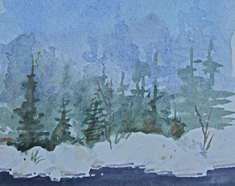 """Original Painting, Watercolor Landscape, Winter Watercolor, Evergreens, Stream, Small Painting Cool Colors - """"Cold Stillness"""""""