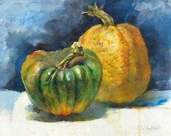 Pumpkins watercolor painting - original vegetable painting, paper