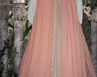 FREE SHIP Medieval Gown Renaissance SCA Garb Irish Style Overdress Peach lxl