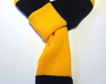 Dog scarf - football, soccer, yellow and black stripe