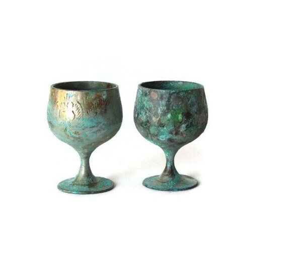 Metallic Wine Glasses : Old copper wine goblets metal glasses engraved