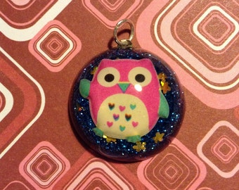Adorable Owl Resin Pendant