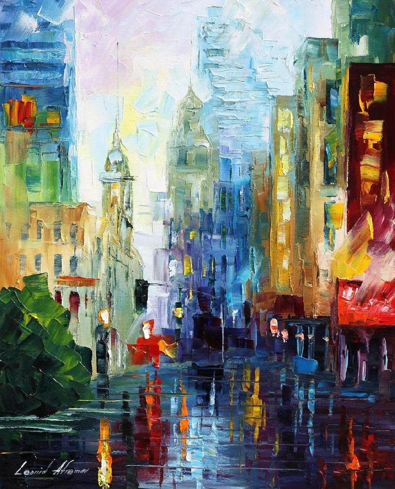 City After The Rain Palette Knife Colorful Cityscape Oil
