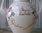 "Antique french coffee pot / tea pot in ironstone with french words ""Be Happy"" and "" Give from the heart""."