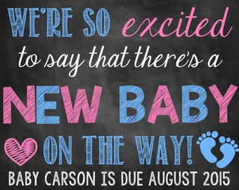Chalkboard Pregnancy Announcement // Pregnancy Reveal // New Baby // Growing Family // Digital File