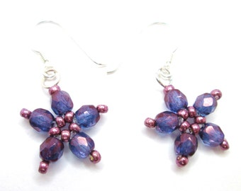 Purple violet lustre daisy flower czech glass firepolish earrings, purple jewelry, floral jewellery, ER018