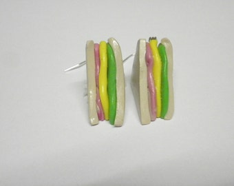 Sandwich Earrings Ham/Cheese/Lettuce/Birthday/Christmas/Mothers Day Present/Novelty charm