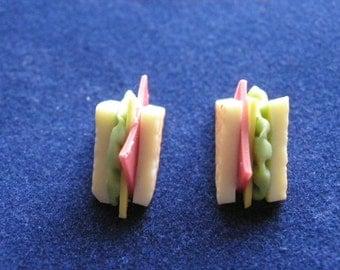 Sandwich Stud Earrings Ham Cheese Lettuce/Birthday/Christmas/Mothers Day Present/Novelty Charm