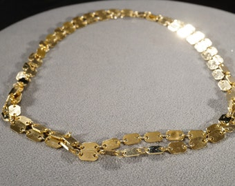 Vintage Art Deco Style Yellow Gold Tone Chain Link Necklace Jewelry     K
